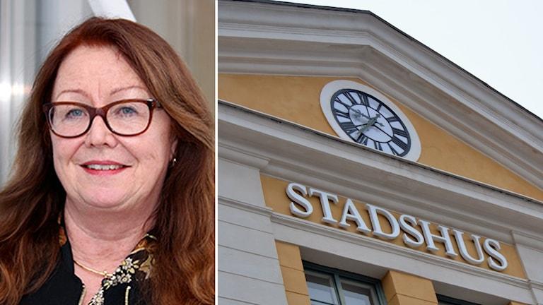 Porträttbild på Margaretha Alfredsson stadsdirektör Umeå kommun och stadshuset i umeå