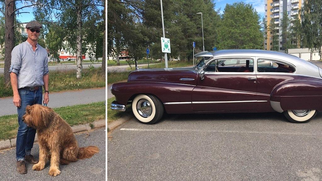 Curt Jonsson, ordförande Umeå veteranbilsällskap med sin hund och bil.