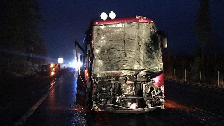Bussolyckan på E4 vid Sikeå mellan Umeå och Skellefteå