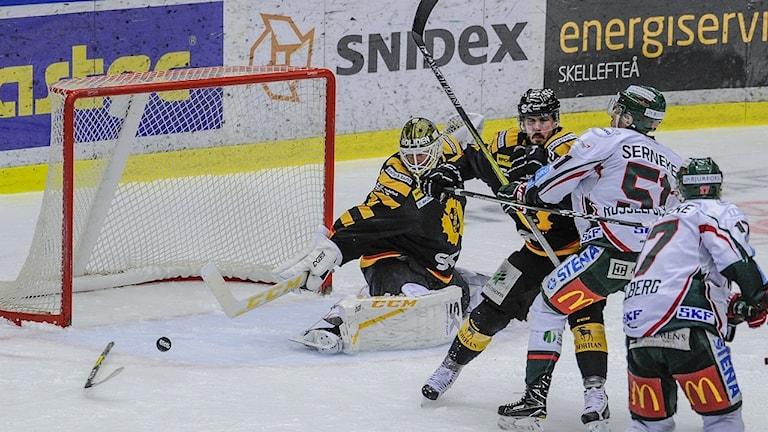 Skellefteå AIK, spel mot Skellefteås mål. Pucken ser ut att kunna gå in i målet