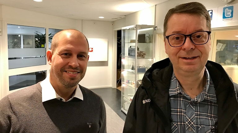 Joachim Östergårds i Umeå, företagare inom byggbranschen och Pär Lärkeryd, vd Norra Skogsägarna Foto: Jan Jacobson SR/Västerbotten