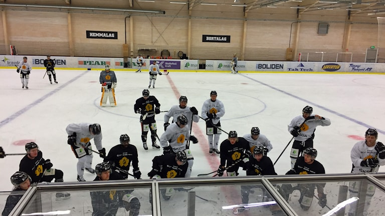 Hockeyspelare i svarta respektive vita tröjor tränar på is.