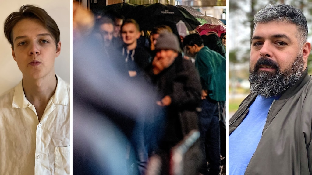 Porträtt sammanbiten 22-årig man i ljus skjorta och mörkt hår. Kvällsbild krogkö. Till höger porträtt man med stort mörkt skägg.