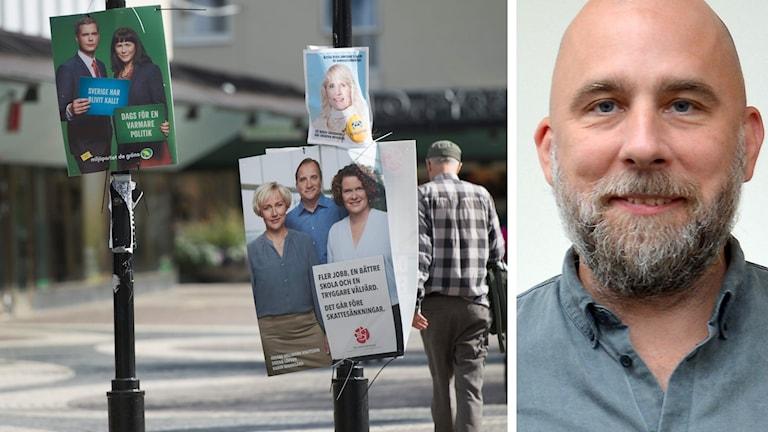 Kollage med två bilder: Till vänster valaffischer med miljöpartiet, socialdemokraterna och liberalerna. Till höger porträtt av forskare Joakim Kulin.
