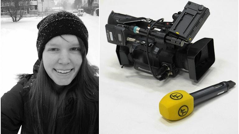Emma Vestman, kollage, filmkamera