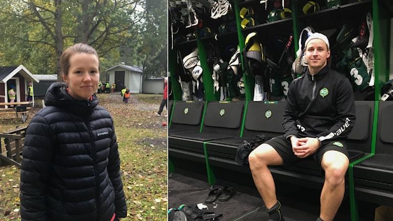 Caroline Stattin, IBK Dalen, och Marcus Jonsson, Björklöven. Två elitidrottare i Umeå med vitt skilda verkligheter.