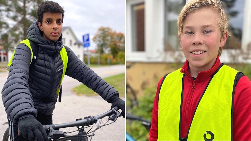 Bildsplitt Cykeldag Robertsfors sept 2021. På bilden på varsin cykel: Dawit Ayara och Klas Sundström.