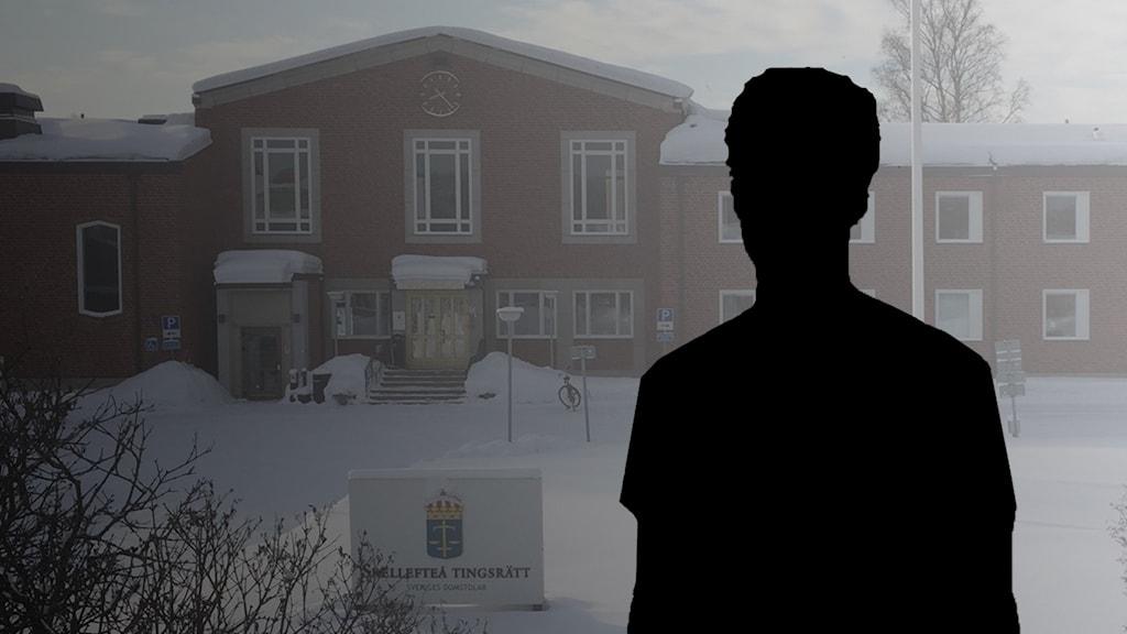 Silhuett över Skellefteå tingsrätt.