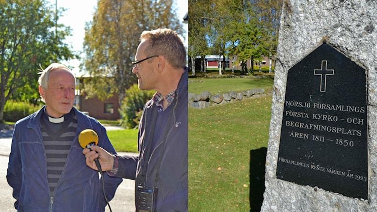 Kyrkoherde Henry Bertling berättar om fejkruinen. Foto: Erik Iversen och Peter Öberg, Sveriges Radio.