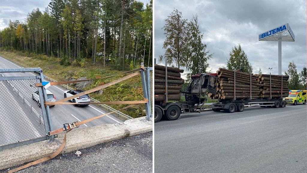 Timmerbil olycka vägbro E12