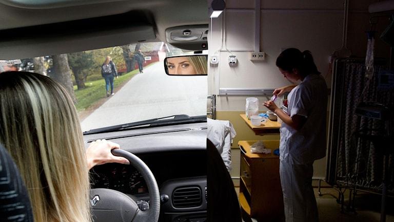 Kvinna kör bil och sköterska plockar med medicin vid sjuksäng.