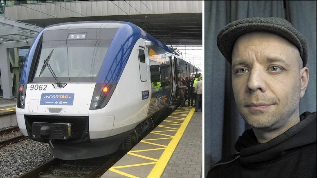 Tåg på perrongen i Umeå.