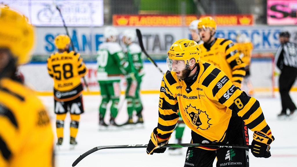 Skellefteås Petter Granberg deppar på isen.