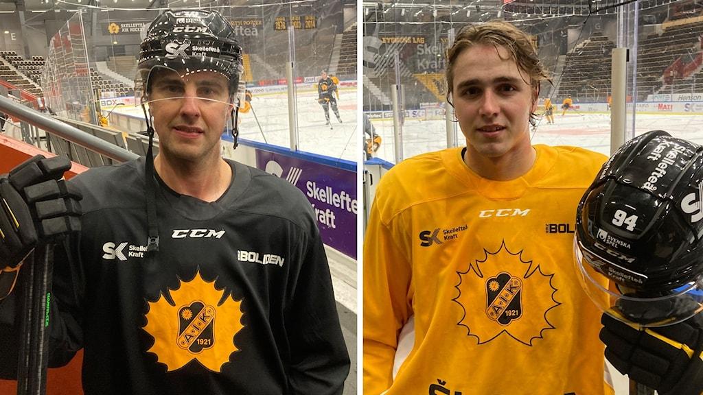 Två bilder. Jocke Lindström och Linus Karlsson i Skellefteå AIK har båda just klivit av isen efter träning.
