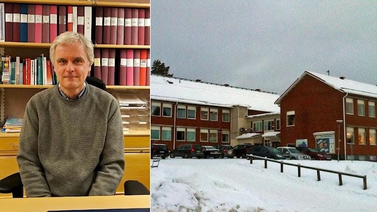 Per Lindberg, rektor på Malgomajskolan, håller tal mot nazism och rasism under tisdagen.