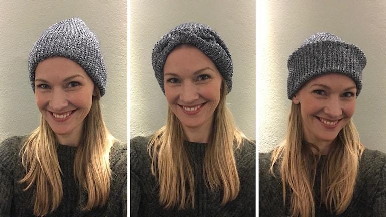 Stylisten Pia Johansson visar olika sätt att bära mössa på
