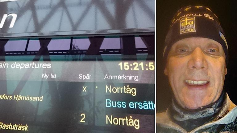 """Skylt på järnvägsstation """"Norrtåg: Buss ersätter"""" samt en bild på pendlaren Sven Stigenlöv"""