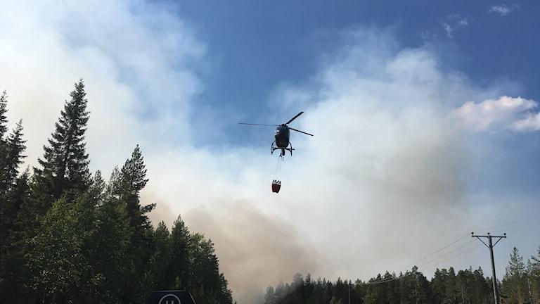 helikopter, brand, nordmaling