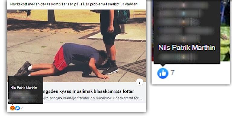 Skärmdumpar på KD-politiker gillar rasistiska och sexistiska inlägg på Facebook