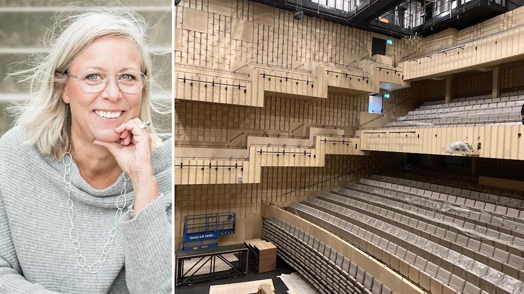 Maria Ekberg Brännström, vd för Sara kulturhus, ler och tittar in i kameran. Till höger bild på läktare och scen i kulturhuset.