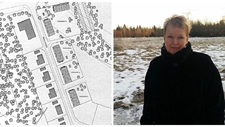 Collage, lägenhetsplaner och Maria Bahlenberg på Bjurholms kommun.