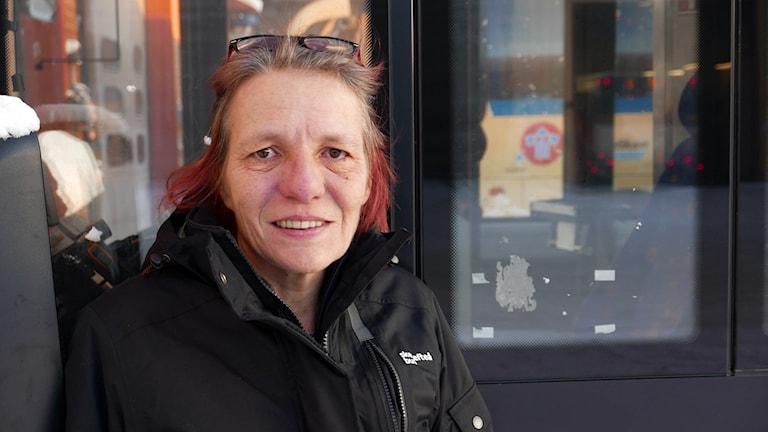 Busschauffören Kerstin Lindqvist i Skellefteå