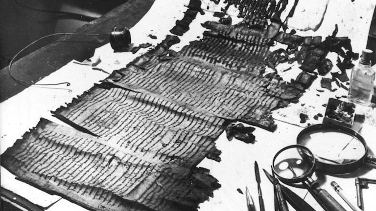 En svartvit bild av Dödahavsrullarna