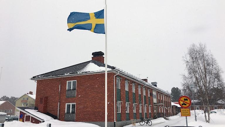 Sorsele Kommunhus och flagga på halv stång
