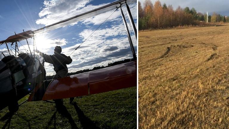 Kollage med en pilot vid ett litet flygplan i motljus och bild på skadegörelsen