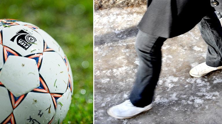 En fotboll och en person som går på isig mark - ett kollage