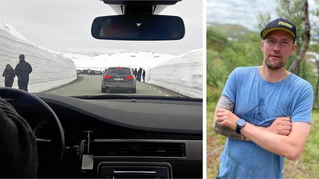 Kollage med två bilder. Till vänster vy av vildmarksvägen med mycket turister som stannat vid snövallar, till höger porträtt av Mathias Blind.