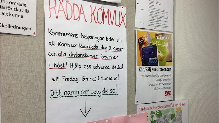 Namninsamling för Komvux i Umeå. Foto: Lillemor Strömberg/Sveriges Radio.