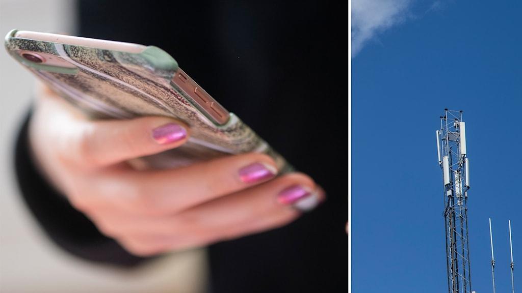 Till vänster: Ung person håller i en mobil. till höger: En mobilmast mot en klarblå himmel.