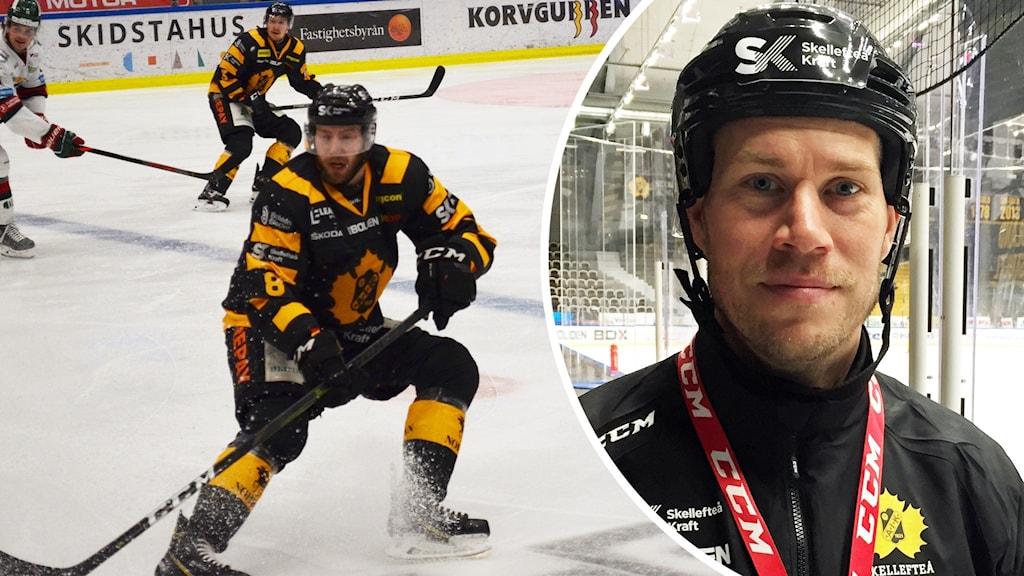 Petter Granberg, back i Skellefteå AIK och Andreas Falk, tränare för Skellefteå AIK. Foto: Hjalmar Åman/Sveriges Radio