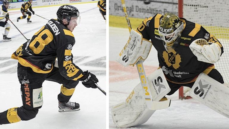 Skellefteå AIK:s Jesper Frödén och Gustaf Lindvall under match, två sammansatta bilder. Foto: Erland Segerstedt/TT