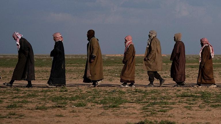 En grupp människor går genom ett ökenlandskap
