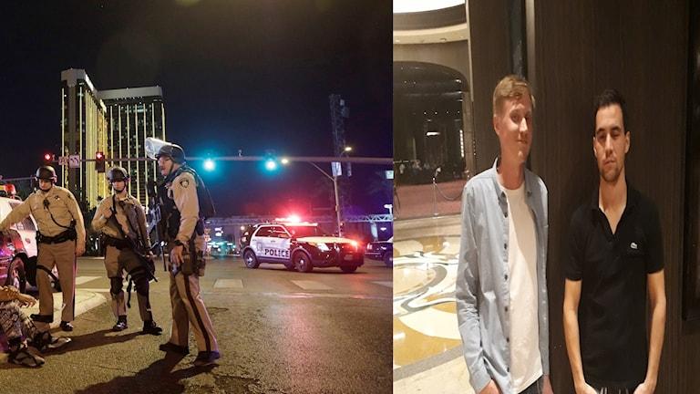 Poliser på sin vakt på en gata i Las Vegas