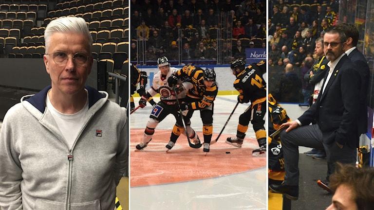 Ett montage med bilder från Skellefteå AIK, i mitten spelare under match i kamp om pucken, tv. Pea Israelsson, klubbdirektör th. Tommy Samuelsson, tränare