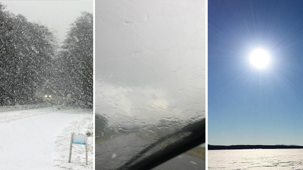 Tre bilder i montage: Stora snöflingor faller över en väg, regn tar bort sikten på en vindruta i väntan på torkarbladen, Solen lyser över en snötäckt sjö.