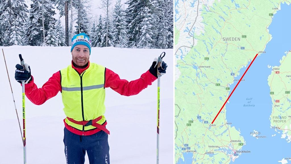 Petter Myhlback skidar från Falun till Umeå för Musikhjälpen