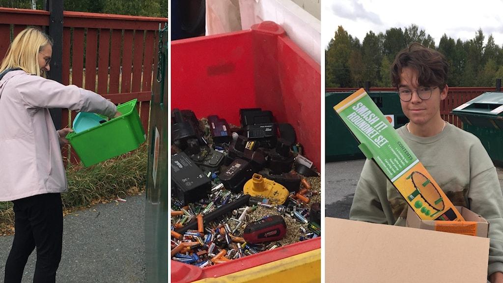 Re bilder. tv. Charlotta Hedlund sorterar plast, i mitten en röd plastback fylld med gamla batterier. th. Arvid Strömqvist som återvinner kartong.