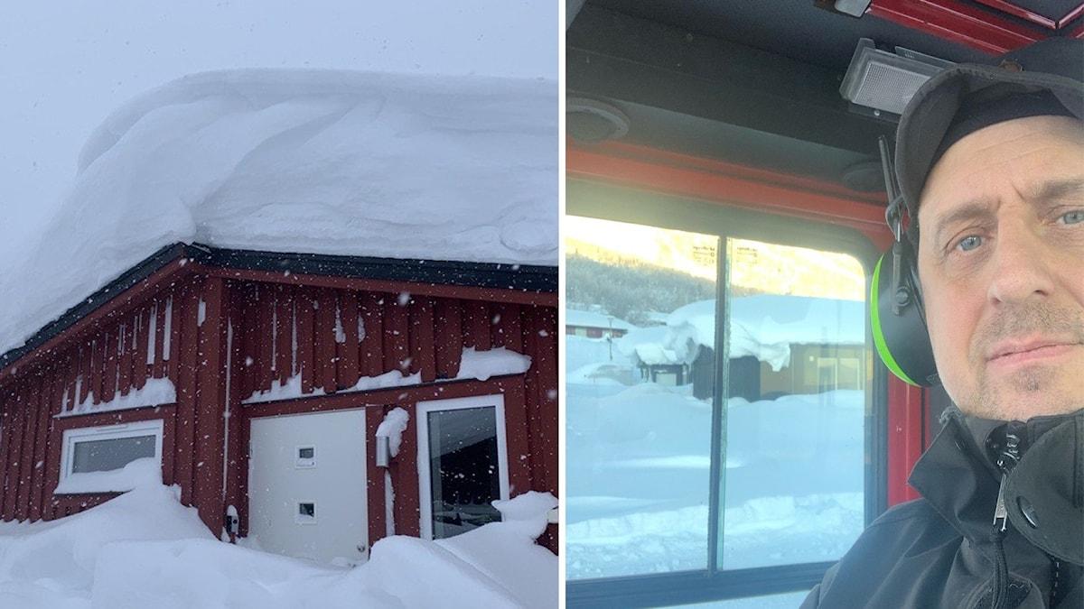 En av de snötäckta taken i Kittelfjäll. Rikard Bergroth har blivit nedringd med samtal att skotta tak.
