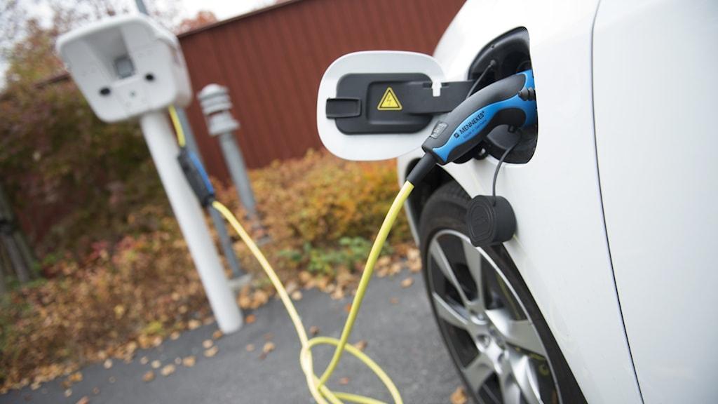 En elbil, en plug-in hybrid av märket Volvo, laddar ström vid en laddstolpe