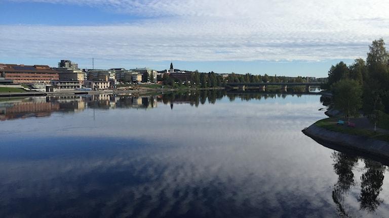 Vy från parkbron i Skellefteå