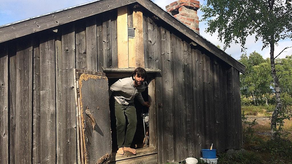 Nikolai Ahlmgren har tillbringat natten i en bastu på Holmön.