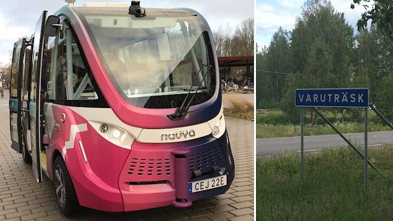 Två blider, tv. en lila förarlös buss i Linköping och th. byaskylten till Varuträsk.