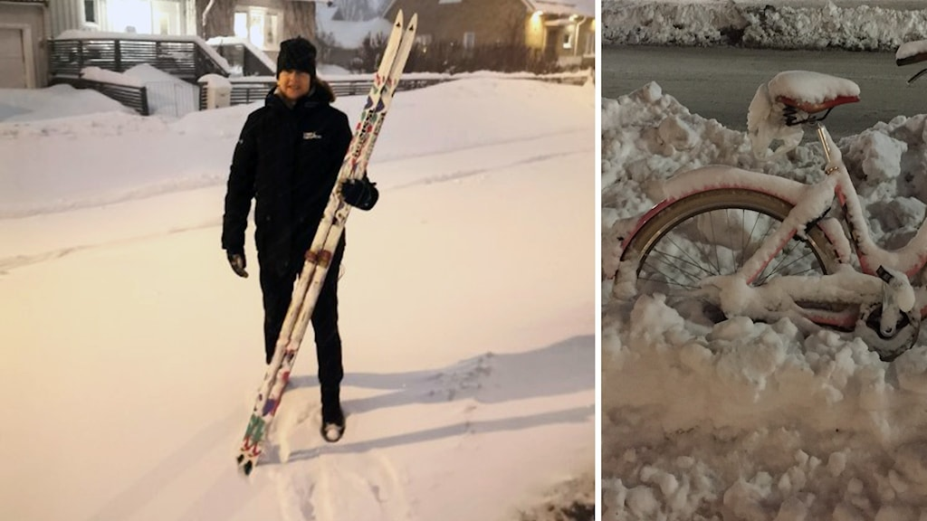 Kristina Hugosson med sina skidor.