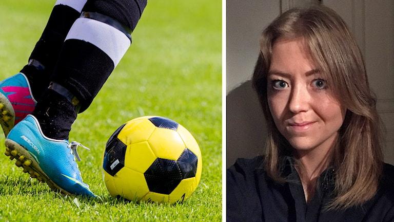 Fotbollsskor och en fotboll och Isabelle Widmark FairPay kollage
