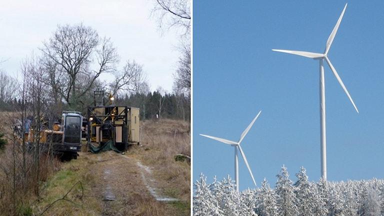 Provborrning i Norra Kärr och vindkraftverk.