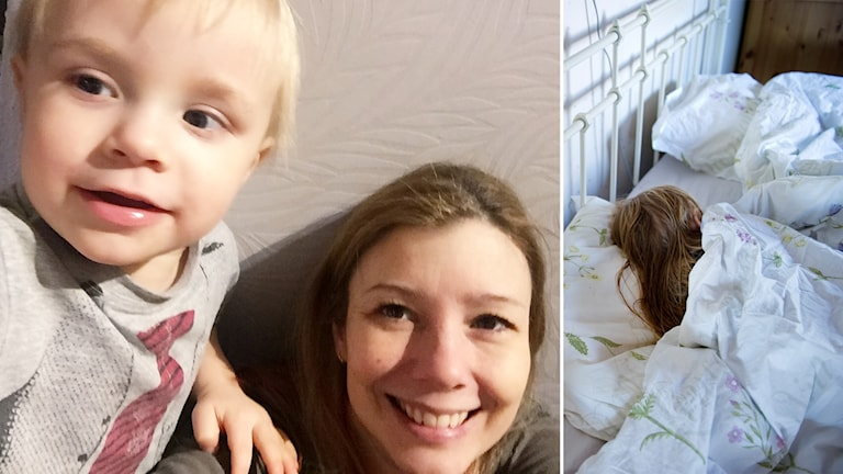 Malin Larsson med son samt en sovande person kollage